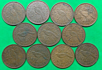 Lot of 11 Different Old New Zealand Large Penny Coins 1940-1959 Vintage Kiwi !!