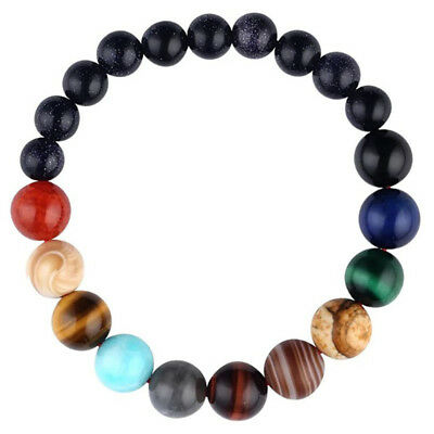 Eight Planets Galaxy Natural Stone Bracelet Beads New Solar System Theme