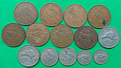 Lot of 14 Different Old New Zealand Coins 1940-1965 Vintage Kiwi !!
