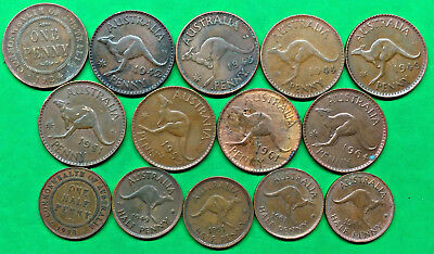 Lot of 14 Different Old Australia Large Penny Halfpenny Coins 1924-1964 !!