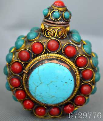 Chinese Collectable Copper Carve Flower Inlay Colour Agate Special Snuff Bottle