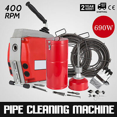 690W Sectional Drain Cleaner 10/16/22mm 47m Augers Spring Cable Max Clean 60m