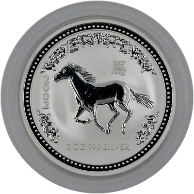 2002 Lunar Year of the Horse Australia 2 oz. .999 Fine SIlver Series I, capsule