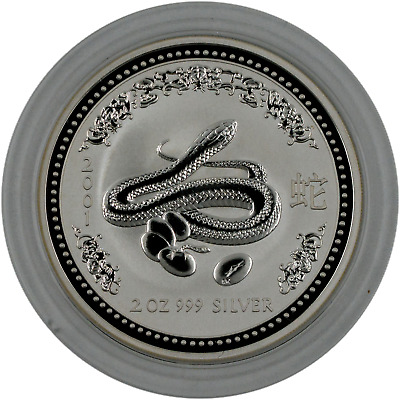 2001 Lunar Year of the Snake Australia 2 oz. .999 Fine SIlver Series I, Capsule