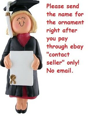College University High School Graduation Girl Personalized Christmas Ornament