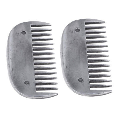 2pcs Stainless Steel Horse Curry Comb Horse Pony Tail Mane Cleaning Brush