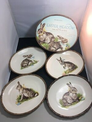 WILLIAMS SONOMA EASTER MEADOW SALAD PLATES Set of 4