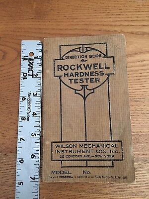 Rockwell Hardness Tester Manual  Wilson Mechanical Instrument Co. Inc. Model M