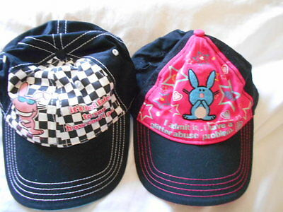 TWO (2) Happy Bunny Baseball Hats SUN Caps Jim Benton glitter abuse COOL