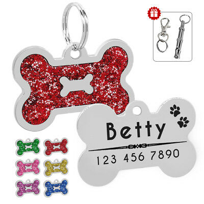Dog Tags Personalized Engraved Pet Cat ID Name Collar Tag Bone Glitter&Whistle