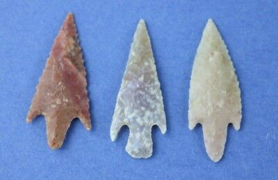 3 Sahara Neolithic Translucent Agate Stemmed Points - Colorful - Authentic