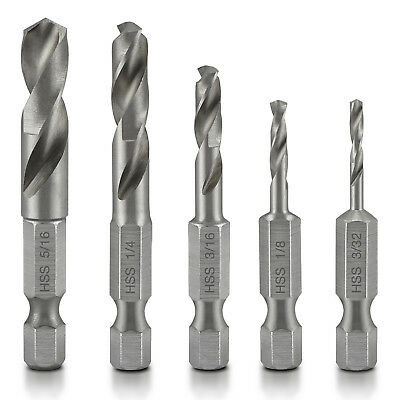 Quick Change Stubby Drill Bit Set For Metal | 6 PC High Speed Steel