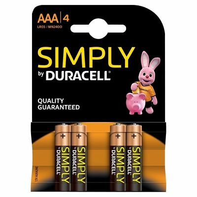 4 x Duracell Simply AAA 1.5v Batteries Pack Alkaline LR03 MN2400 Lasting Power
