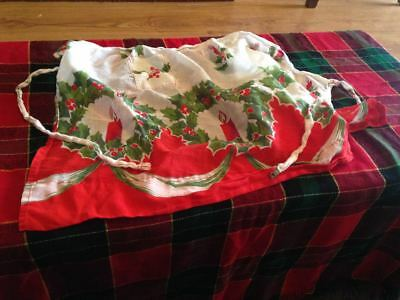vintage handcrafted Christmas half-apron with holly and red candles
