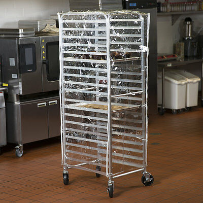 "63"" Clear 14 Mil Clear Plastic Vinyl Restaurant Bakery Bun Pan Speed Rack Cover"