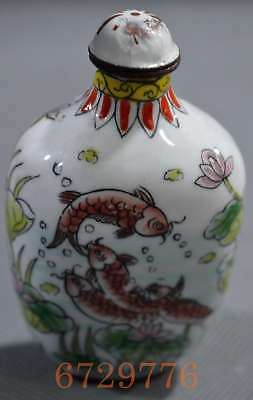 Collectable Chinese Cloisonne Paint Goldfish Lotus Souvenir Lucky Snuff Bottle