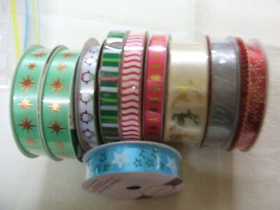 10 X ROLLS OF ''jOLLY  JOY + OTHERS''XMAS RIBBONS. VARIOUS DESIGNS  BNWOT '