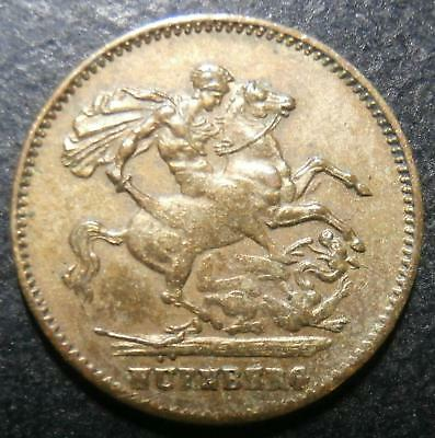 Toy money - 1 Sovereign by Lauer - plain edge coppery-brass RR Rogers#401c