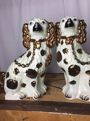 Pair Of Antique Staffordshire Wally Dogs Fireside Flat Back Unmarked Gilt Finish