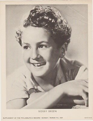Rare Vintage 1937 Bobby Breen Promo Photo Supplement From Philadelphia Record