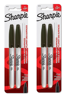 4 PACK  Sharpie Black Fine Point Permanent Markers