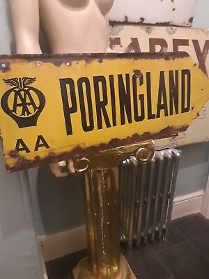 Original AA enamel Sign poringland ~ Road Sign ~ unrestored ~ Franco ~ C1920