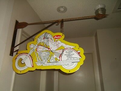 "Indian Motorcycle porcelain sign 24""w x 14""h"