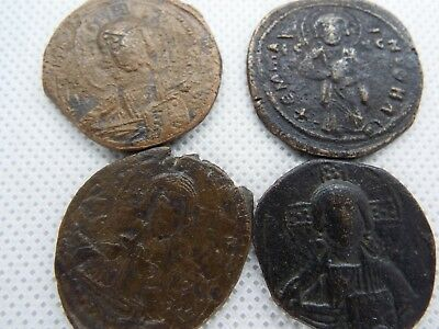 11-3 lot 4pcs Anonymous Follis - Ancient Byzantine Bronze Coin JESUS CHRIST