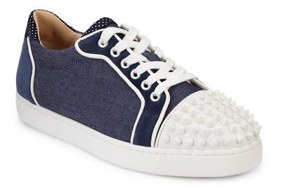 ae9e43c2cf96 NIB Christian Louboutin Vieira Spikes Flat Blue Denim Lace Low Top Sneaker  35.5