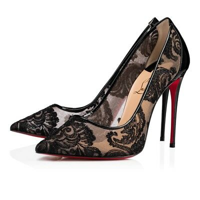 cheap for discount 6bf77 3102a NIB CHRISTIAN LOUBOUTIN Follies Lace 100 Black Lace Pigalle Patent Heel  Pump 41