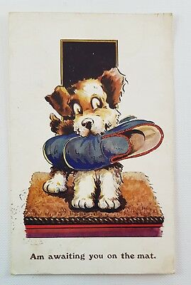1939 Postcard Half Penny Stamp Cute Dog Am Awaiting You On the Mat Salmon Series