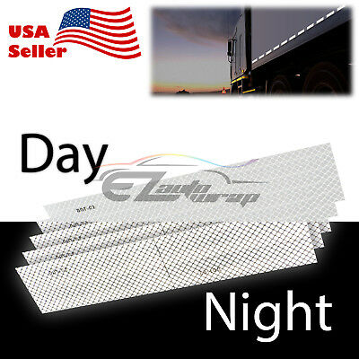 White DOT-C2 Conspicuity Reflective Tape Strip 1 Foot Safety Warning Trailer RV