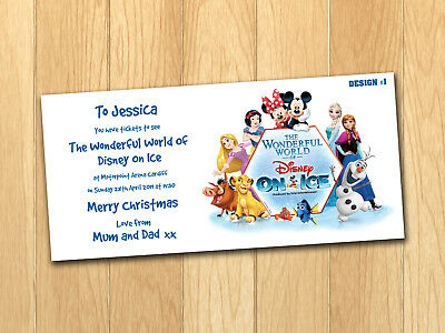 Disney On Ice Gift Card Voucher Present Birthday Christmas Ticket With Envelope