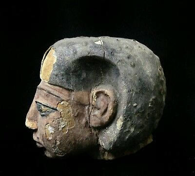 Ancient Egyptian sculpture limestone head unknown age