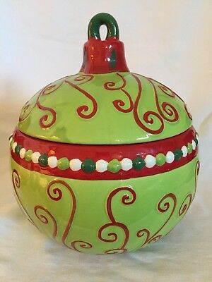 Christmas Real Home Ceramic Ornament Cookie Jar 10.5""