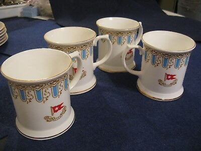 """WISTERIA WHITE STAR LINE """"TITANIC"""" Turquoise & Brown First Class Pattern 4 CUPS"""