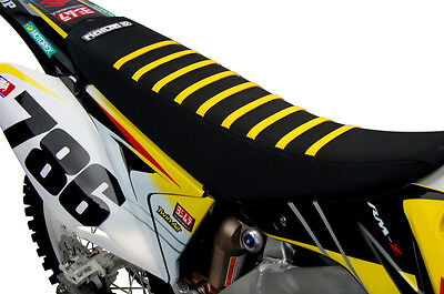 2001-2018 SUZUKI RM 125 250  SEAT COVER BY Enjoy MFG ALL Black / Yellow RIBS