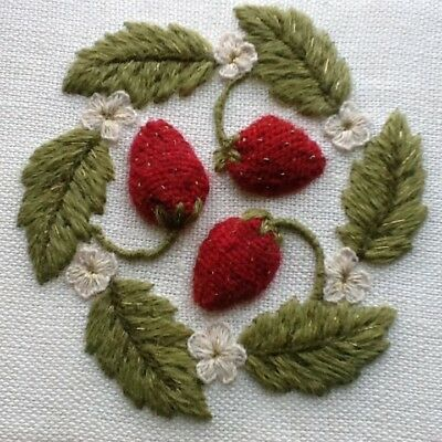 'Strawberries 'N Cream', a crewel and stumpwork embroidery kit for beginners