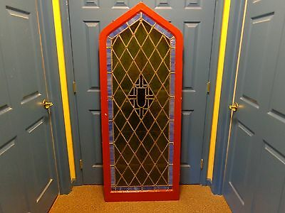 "STUNNING Vintage Arched Stained Glass Window with Frame Molding, 5'  9-1/2"" Tall"