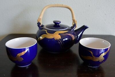 Vintage Kutani Style Tea Set In Cobalt Blue With Gold Gilding Flying Cranes