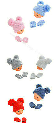 Baby Pom Pom Hat & Mittens Set Glitter Grey Pink Blue Knitted NB-24M Soft Touch