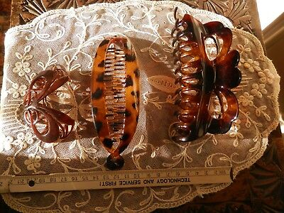 Vintage Early Plastic Barrette Faux Tortoiseshell + Pony-tail Hair-clip + Claws