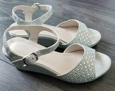 David's Bridal Girls Silver Crystal Studded Wedge Heels Size 13 Youth Dress Shoe