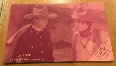 "Tom Tyler A "" Show Down "" Coupon 1928 Western Arcade Exhibit Post Card Nice"