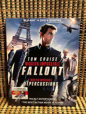 Mission: Impossible 6 - Fallout (3-Disc Blu-ray/DVD, 2018)+Slipcover & Book.