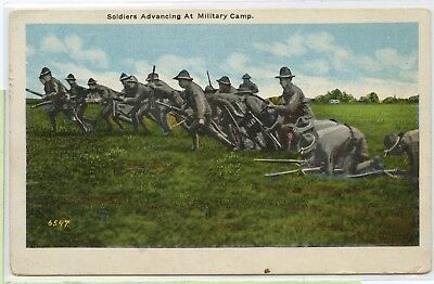 Vintage Military Postcard~ Soldiers Advancing At Military Camp ~ Army Life