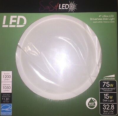 "LED 4"" Driverless Disk Light (32.8 Year Life) 15w Disk Light, White, Puck Light"