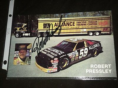 Nascar Racing Robert Pressley #59 Alliance Auto Signed Hero Card
