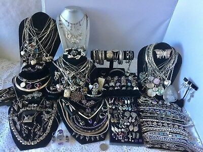 Huge Sterling Jewelry Lot * Necklaces * Many Gemstones *  Not Scrap  2083 Grams