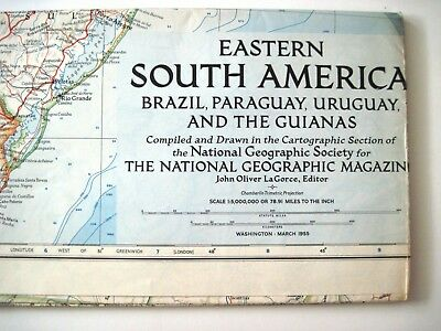 """1955 """"National Geographic Magazine Map"""" of """"Eastern So. America""""  *"""